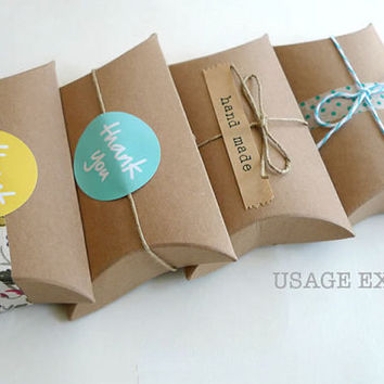 Kraft Pillow Boxes- Kraft Paper Gift Box 3 x 3.5 x 1 in- Set of 12 Blank Packaging Box