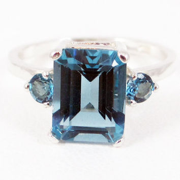 London Blue Topaz Emerald Cut Ring, 925 Sterling Silver, December Birthstone Ring, Emerald Cut London Blue Topaz Ring, 925 Three Stone Ring