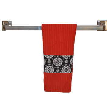 Red Microfiber Towel, Eco Towel, Hanging Towel, Black with White, Paperless Towel, Dish Towel, Tea Towel, Cleaning Supply, Kitchen Supply