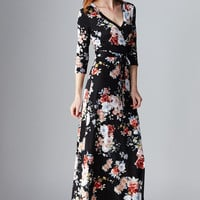 LARA: Floral Escape Maxi Dress in Black