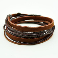 Brown Leather Wristband cuff bracelet, friendship gift, brown ropes bracelet, women wrap bracelet, men wrap bracelet  C0335