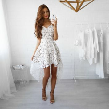 Floral Crochet Swallow Tail Asymmetrical Boutique  Prom  Wedding Dress