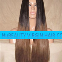 """CUSTOM COLORED Human Hair Wig Front Lace 24"""" Very Long Straight Dark Light Brown Ombre #2/6"""