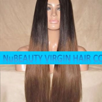 "CUSTOM COLORED Human Hair Wig Front Lace 24"" Very Long Straight Dark Light Brown Ombre #2/6"