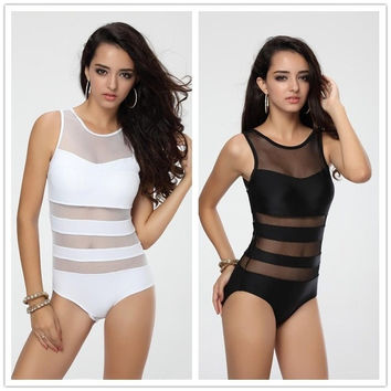 Swimwear Sets Swimsuit Bathing Suit Monokinis Bandage Beach Wear black one piece 2 colors S M L = 1956936708