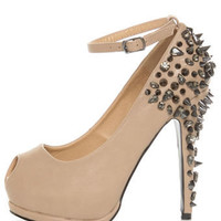 Privileged Arrow Tan Spiked and 'Stoned Platform Pumps - $85.00