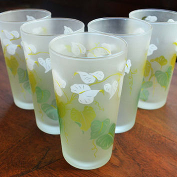 Set of 5 Vintage Libbey Frosted Tumblers, Green and Yellow Leaves and Ivy - Mid Century barware
