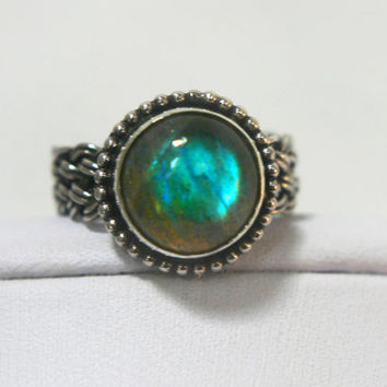 Labradorite Ring with Handwoven Sterling Band