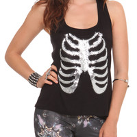 Sequin Ribcage Tank Top | Hot Topic