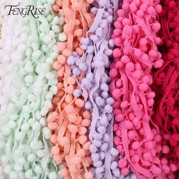 FENGRISE 5 Yards 1cm Colorful Pom Pom Lace Trim Ball Tassel Ribbon Handmade Fringe Sewing Fabric DIY Craft Sewing Accessary Lace