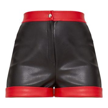 Black Faux Leather Contrast Panel Shorts