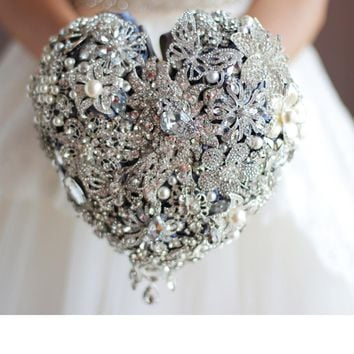 New products, bridal bouquets, wedding bouquets, jewelry bouquets,  bouquets, luxury, dazzling, silver flowers, free shipping.