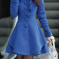 Cadetblue Long Sleeve Flounced Coat