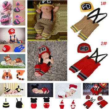Crochet Firefighter Baby Boy Photo Props Infant Kid Hat Clothes Set Knitted Newborn Hat Pants Set for Photography 1set MZS-15037