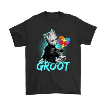 PEAPV4S Guardian Of The Galaxy Groot Autism Awareness Puzzle Pieces Shirts