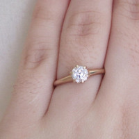 Vintage .50 ct Old European Cut Diamond Solitaire Engagement Promise Ring 14k Gold 6 Prong High Crown Setting