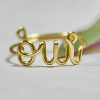 OUI Ring, French Word Gold Wire Adjustable Band - Yes I Do