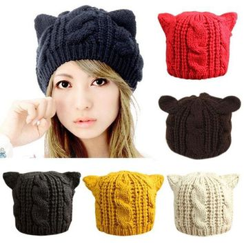 CREYUG3 Fashion Lady Girls Winter Warm Knitting Wool Cat Ear Beanie Ski Hat Cap = 1930057028