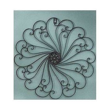 Metal Wall Sculpture Medallion Iron Scroll Antiqued Finish