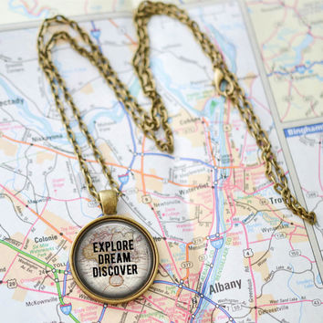 Explore Dream Discover Quote Necklace, Quote Map Jewelry,  Mark Twain Quote Necklace, Traveler Gift, Gypsy Jewelry