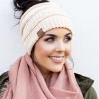 CC Messy Bun Knitted Beanie Hat - Ivory