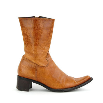 Vintage Tan Burnt Orange Leather Worn In Skinny Ankle Pointed Boots / Size US 6 EU 36