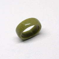 Green ring, Olive green ring, Green jewelry, Corian ring, Band ring, Round ring, Green stone ring, Green band ring, Green wedding ring