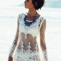 Mesh Lace Embellished Beach Cover Up Kaftan