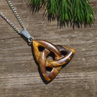 Triquetra pendant Celtic knot trinity necklace Pagan jewelry Wicca jewelry Tiger eye pendant Irish necklace Triangle stone pendant Silver