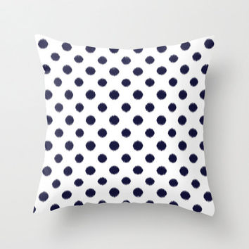 Velveteen Pillow - Polka Dot Throw Pillow - Black - Ikat - Fashion Pillow -Accent Pillow - Decorative Pillow - Girls Room Decor - Teen Decor