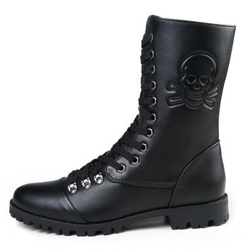 New Fashion Skull Zip Martin Boots Winter England Style Men's Short Black Motorcycle M