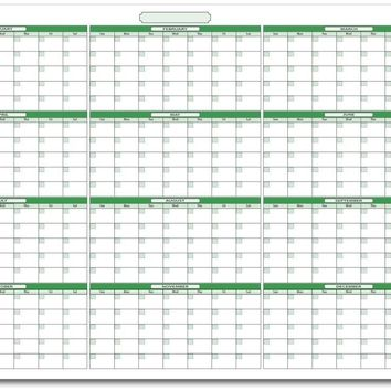 "UV Print 1mm PVC Erase Calendar 39"" x 55"" with January -December. No Ghosting/Staining!"