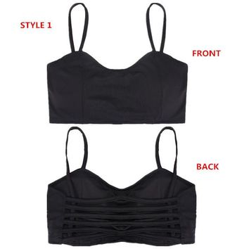 4 Styles Sexy Stretch Padded Bra Bandeau Hollow Out Crop Tops Cut Out Sport Vest