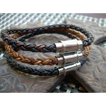 Mens  Braided Stainless Steel Magnetic Clasp Leather Bracelet, Mens Bracelet, Mens Gift, Mens Jewelry, Groomsmen, Fathers Day, Bracelet