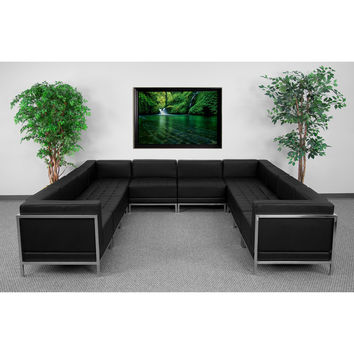 Imagination Series Black Leather U-Shape Sectional Configuration, 10 Pieces