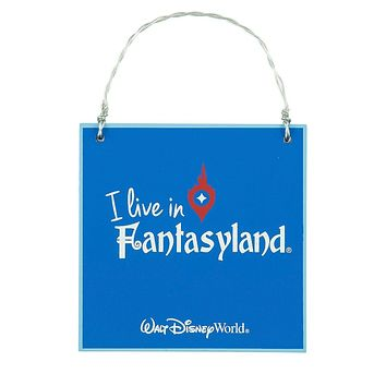 Disney Parks I Live in Fantasyland Message Christmas Wood Ornament New with Tags