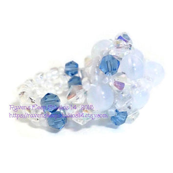Opalite Beaded Ring, Opalite and Blue Swarovski, White and Blue Beaded Ring, Opalite Cocktail Ring, Right Hand Ring