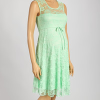 Mint Lace Maternity Empire-Waist Dress | something special every day