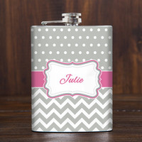Personalized Hip Flask for Women,Wedding Favors,Bridesmaid gifts,Bachelorette party,21 st birthday gift for her,Christmas gift,7 oz