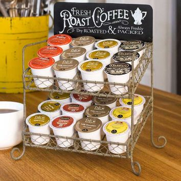 Vintage Inspired, Roast Coffee, K-Cup and Creamer Caddy