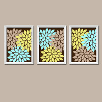 Brown Beige Aqua Blue Lime Green Flower Burst Dahlia Artwork Set of 3 Trio Prints Decor Abstract Bedroom WALL ART Bathroom