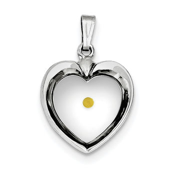 Sterling Silver Rhodium-plated Large Heart with Mustard Seed Pendant QC7398