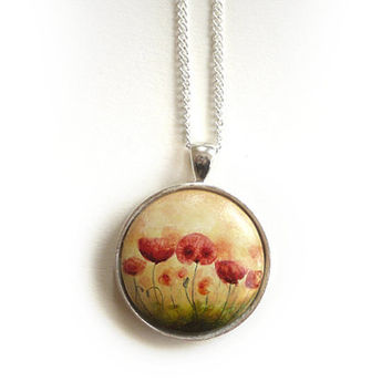 Wearable Art   - Poppy Pendant  - Hand Painted Necklace with Small Original Watercolor Painting of Red Poppies