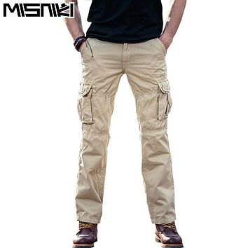 MISNIKI Brand Spring Autumn Cargo Men Pants Cotton Casual Mens Tactical Pants