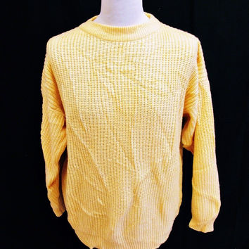 Vintage 1980s Chunky Knit Yellow Cable Jumper Sweater Large