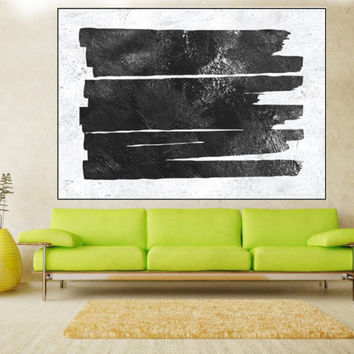 Large Abstract wall art canvas, original painting, extra large wall art canvas hand painting black and white Signed