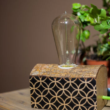 Reclaimed wood lamp - unique and simple minimalist,industrial home decor with black circular pattern, table, desk or bedside lamp,great gift