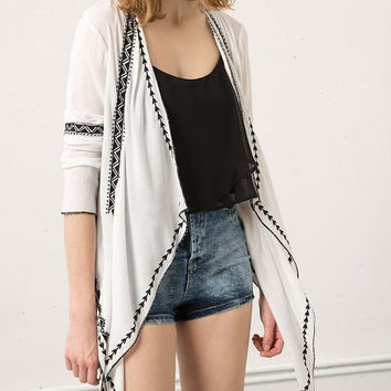 White Embroidered Long-Seeve Asymmetrical Blazer