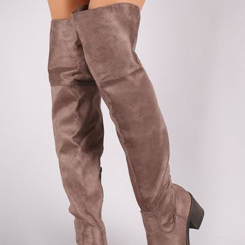Bamboo Suede Round Toe Chunky Heeled Over-The-Knee Boots