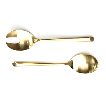 Gold Wave 24 Karat Gold Salad Servers